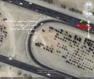 عکس ماهوارهای از سه راه سلفچگان. گوگل ارت.
